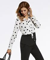 Женская шифоновая блуза цвета экри с принтом сердечки. Модель 220072 Enny, коллекция осень-зима 2016-2017.
