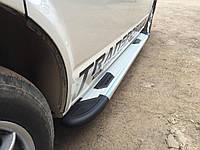 Volkswagen Caddy 2015+ гг. Боковые площадки Bosphorus Grey (2 шт., алюминий) Макси база