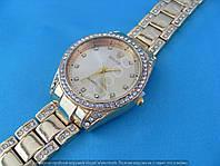 Часы Rolex 114292 женские золотистые в стразах диаметр 35 мм на металлическом браслете