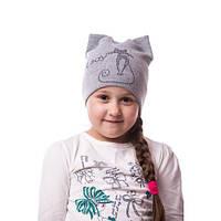Детская вязаная шапка на девочку кошка