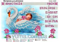 Схема для вышивки бисером Метрика рождения девочки