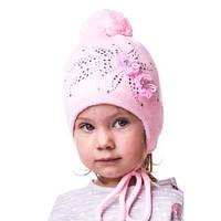 Детская вязаная шапка на девочку со стразами
