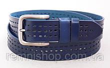 Синий кожаный ремень TIA с перфорацией