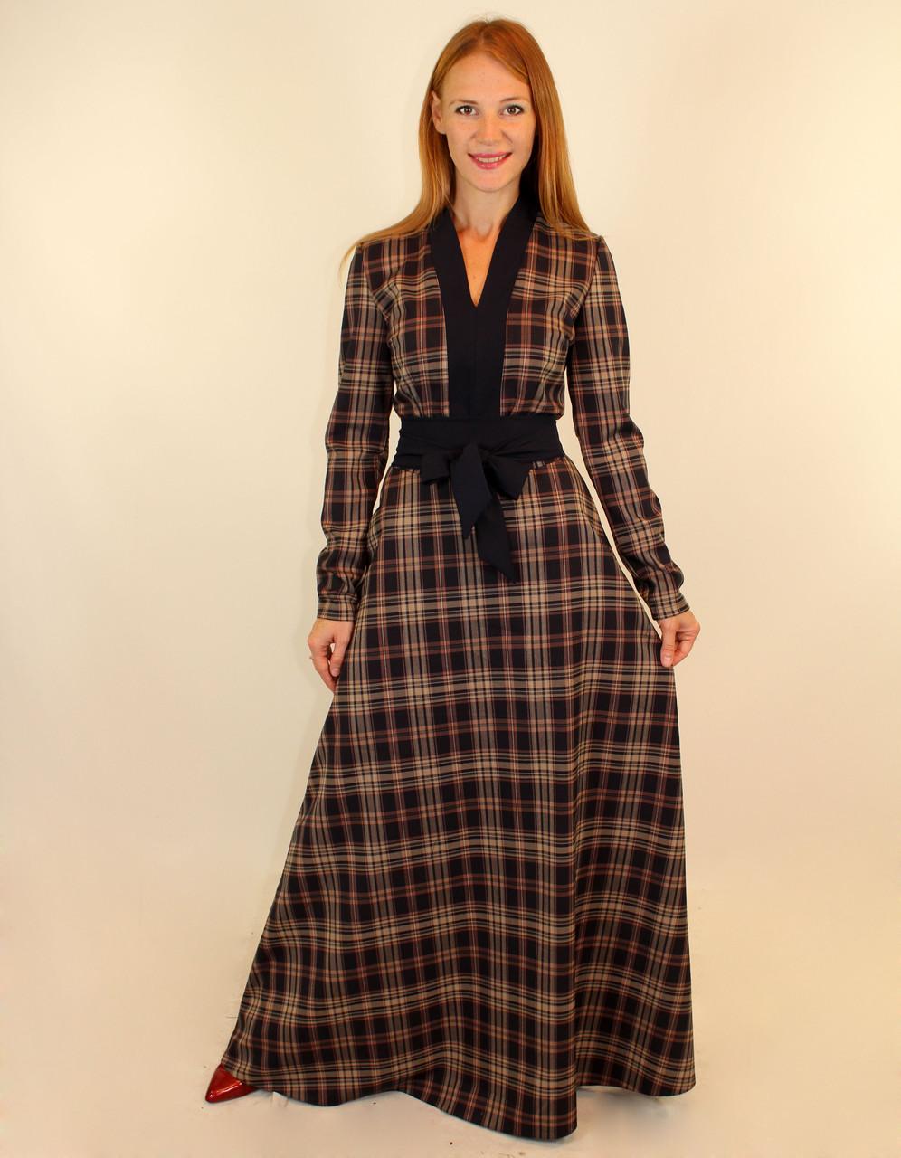 Платье в клетку с длинной  юбкой клеш 44-50 р