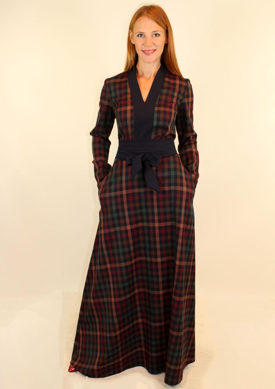 Длинное теплое платье клетка 44-46-48 р
