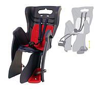 Детское кресло Spelli на багажник, черное с мягкой подстилкой