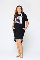 Платье больших размеров Эстель черное батал