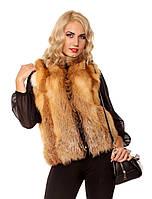 Женская жилетка из меха лисы Стойка