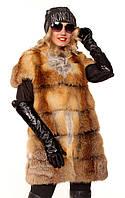 Женский меховой жилет из лисы Поперечка плечо