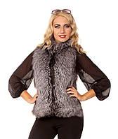 Женская жилетка из чернобурки с кожаной спиной