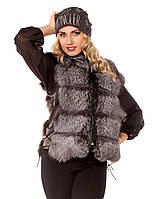 Женская меховая жилетка из чернобурки Плечо