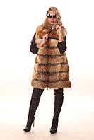 Женская удлиненная жилетка из меха лисы Зарина