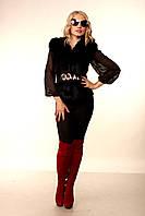 Женская черная короткая жилетка из меха лисы