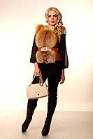 Женская жилетка из меха рыжей лисы  с кожаными вставками