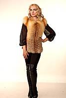 Женская жилетка из меха лисы на змейке с кожаными вставками