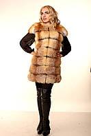 Женская жилетка из меха лисы расшивка поперечка