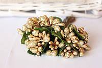 Сложные тычинки блеск крупные, около 144 шт/уп. золото