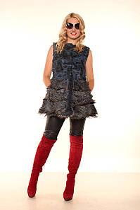 Женская жилетка из чернобурки Комби Мини
