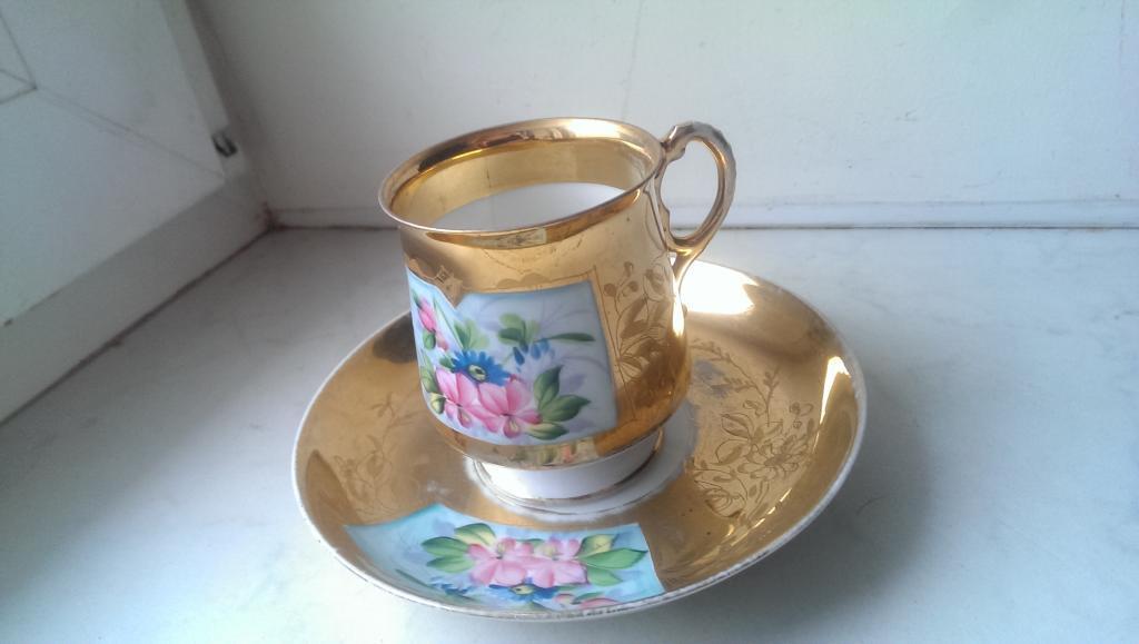Чайная пара фарфор Кузнецов позолота ручная роспис