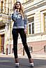 Модные лосины со вставками из эко кожи 42-48 размеры