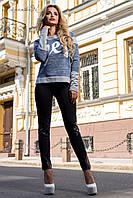 Модные лосины со вставками из эко кожи 42-48 размеры, фото 1