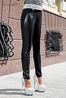 Модные брюки с кожаными вставками 44-50 размеры, фото 1