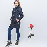Стеганая  куртка с асимметричной застежкой  GT 22842  Темный синий