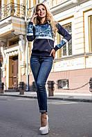 Модный женский свитшот с широкими карманами и принтом джинс 44-50 размеры, фото 1