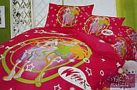 Детское постельное белье 160х210 Сатин Winx club красный