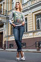 Стильный женский свитшот принтом 44-50 размеры, фото 1