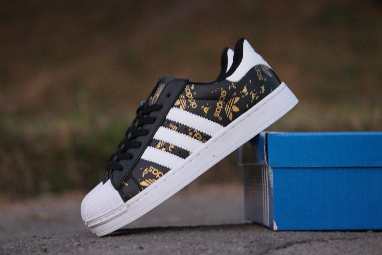 5daa864b Подростковые модные кроссовки Adidas Superstar черные с белым 36,41р -  Интернет-магазин Дом