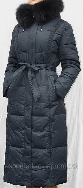 Пальто-пуховик длинное SHENOWA (холлофайбер) с мехом - песец