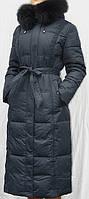 Пальто-пуховик длинное SHENOWA (холофайбер) с мехом - песец