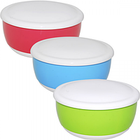 Емкость для хранения продуктов с крышкой 17,5 * 8,5 см / 1,27л 3 цвета Микс