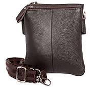 Мужская кожаная сумка на пояс и через плечо коричневая