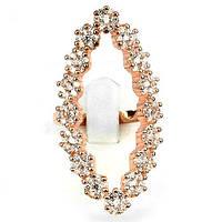 Серебряное кольцо с  фианитами в позолоте