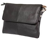 Универсальная мужская кожаная сумка на пояс и через плечо черная
