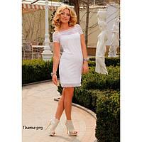 Платье из гипюра с трикотажной подкладкой на бретельках-9113