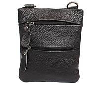 Компактная мужская кожаная сумка на пояс и через плечо черная