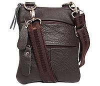 Компактная мужская кожаная сумка на пояс и через плечо коричневая