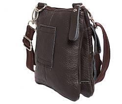 d7996cdc3a20 Компактная мужская кожаная сумка на пояс и через плечо коричневая, фото 3