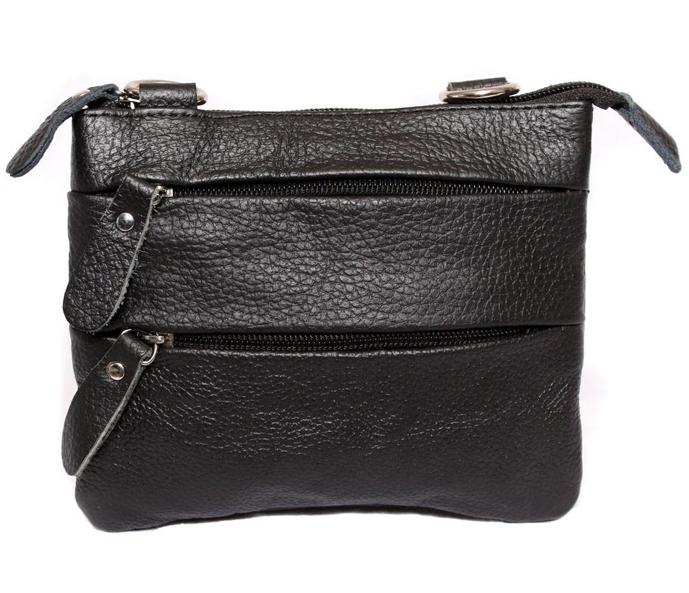 Небольшая мужская кожаная сумка на пояс и через плечо черная