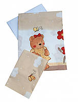 Комплект постельного белья в детскую кроватку Мишка садовник бежевый из 3-х элементов