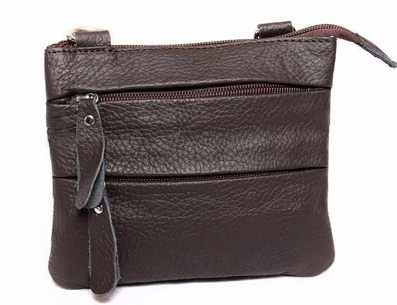 8f0dd770cab6 Небольшая мужская кожаная сумка на пояс и через плечо коричневая, фото 2