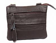 Небольшая мужская кожаная сумка на пояс и через плечо коричневая