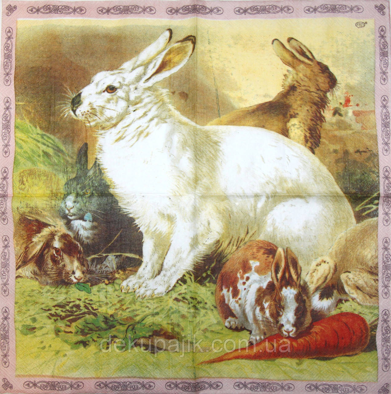 Дуже рідкісна декупажна серветка Кролики 6073