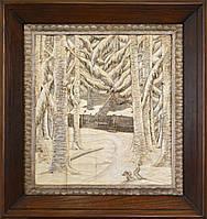"""Картина резьба по дереву """"Зима"""""""