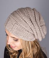 Женская вязаная полушерстяная шапка 1229 (натуральный)