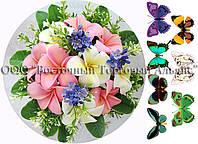 Печать съедобного фото - Формат А4 - Сахарная бумага - Букет цветов №1