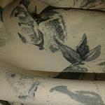 Джинс ткань белый с фотопечатью , лилии, фото 2